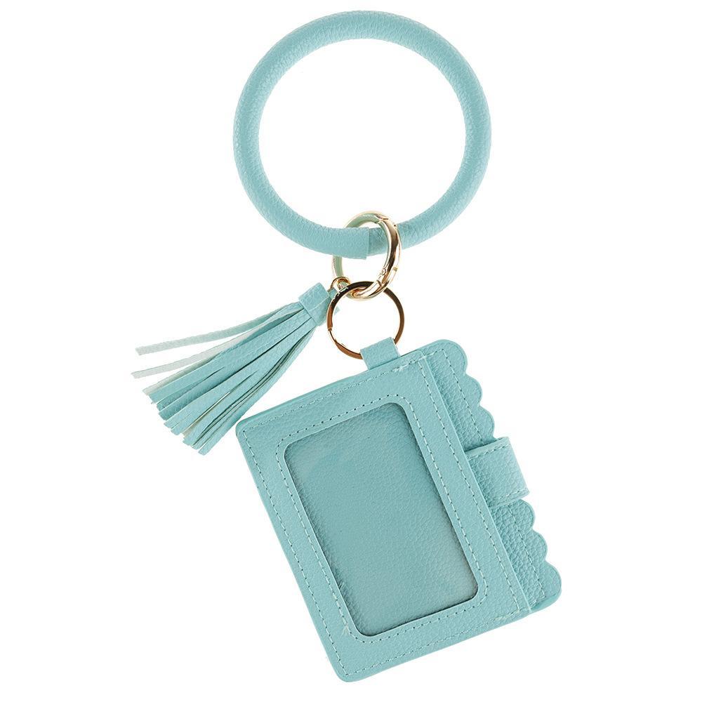 Anahtar Yüzükler Anahtarlıklar Moda Baskılı Katı Renk PU Deri Püskül Bilezik Anahtarlık Basit Ve Kişiselleştirilmiş Yabani Değişim Tutucu KIMLIK KART Kart Çanta Toka Bilezikler Tutun