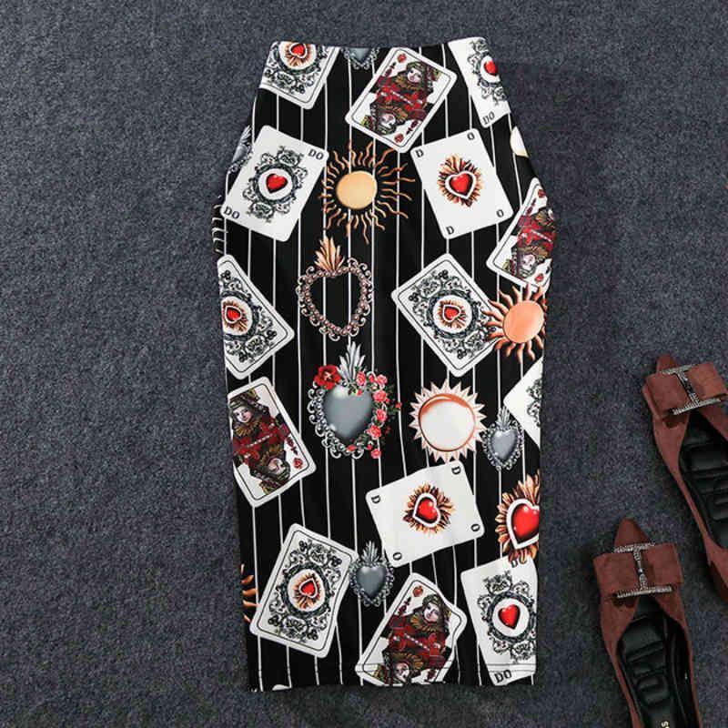 Ново-грязные женские карандаш юбка с высокой растяжной личностью игральная карта печатается MIDI SLIP бедро юбка женщина 210326