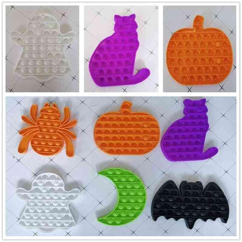 100 pcs / DHL Halloween Theme Bubble Popping Fidget Brinquedos Rato Abóbora Aranha Gato Lua Hallowmas Imagem Sensory Push POPS Poo-seu dedo Puzzle Party Gift Kids H81WJQ4