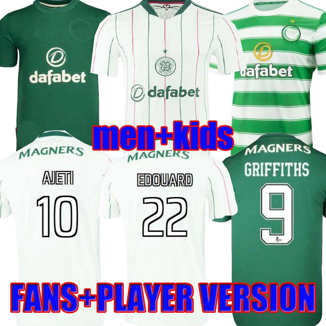 21 22 Celtic AJeti Turnbull Soccer Jerseys 2021 Accueil Vert Edouard Johnston Griffiths McGregor Maillots de pied Foot Forrest Hommes + Chemises de football enfants Uniformes