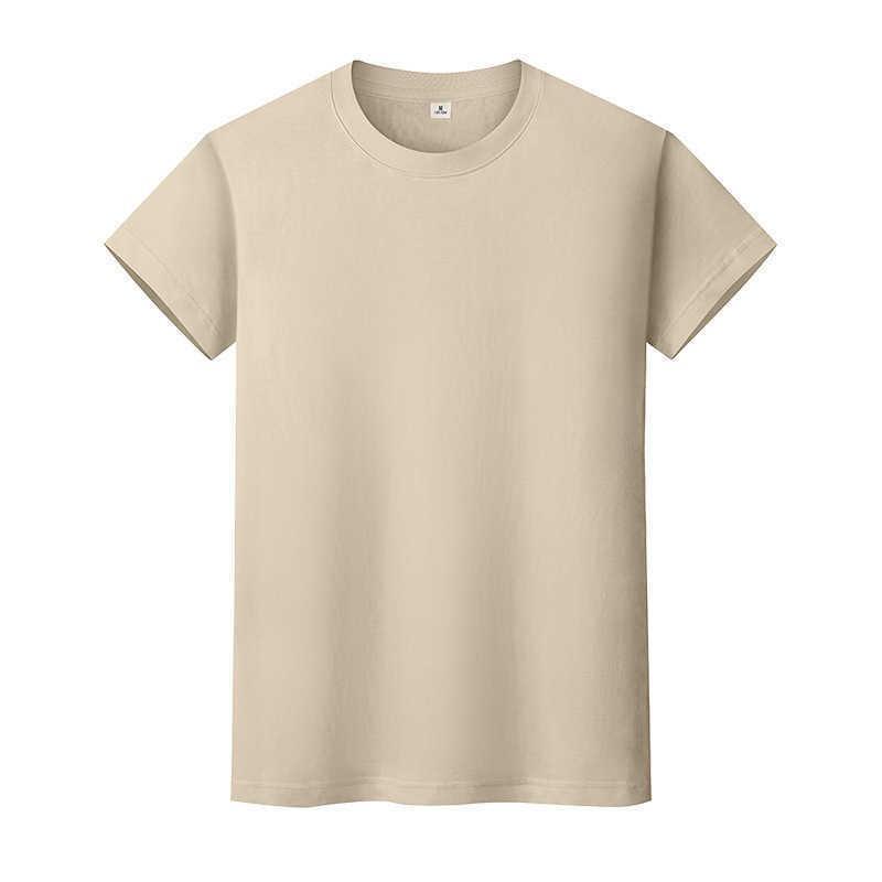 New Round Neck Color Sólido T-shirt Verão de Algodão de Algodão Camisa de mangas curtas Mens e mulheres Meia-manga CXGJ