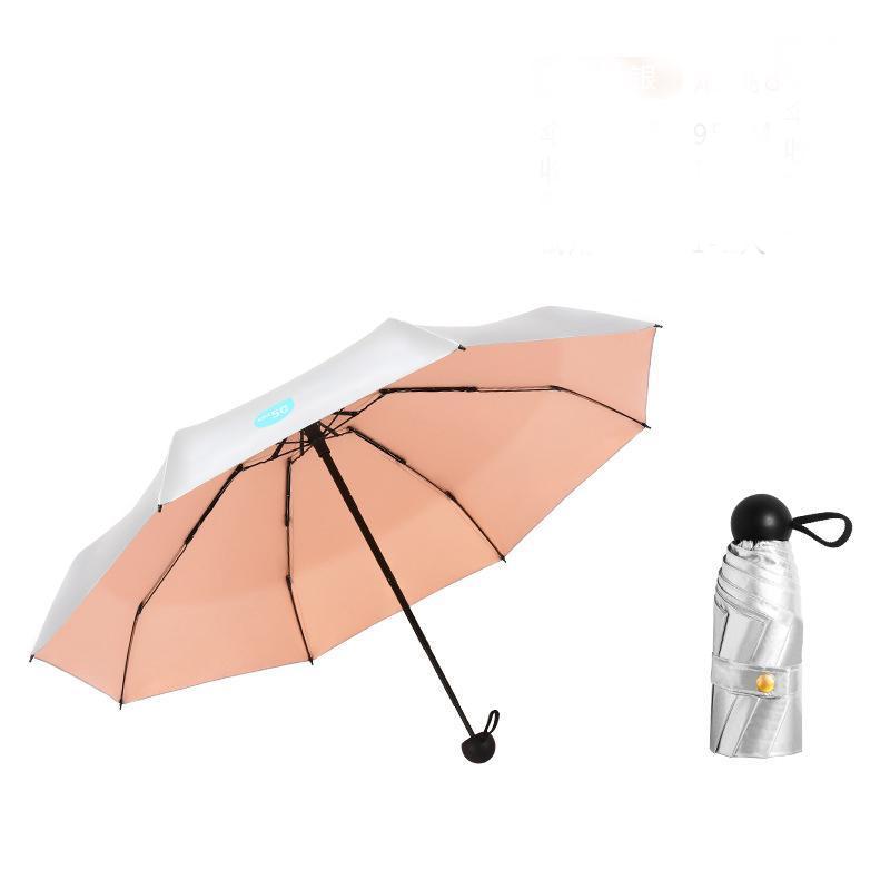 Umbrellas Silver Coating Mini Pocket Umbrella Rain Women UV Protection Five-folding Windproof Parasol Small Portable