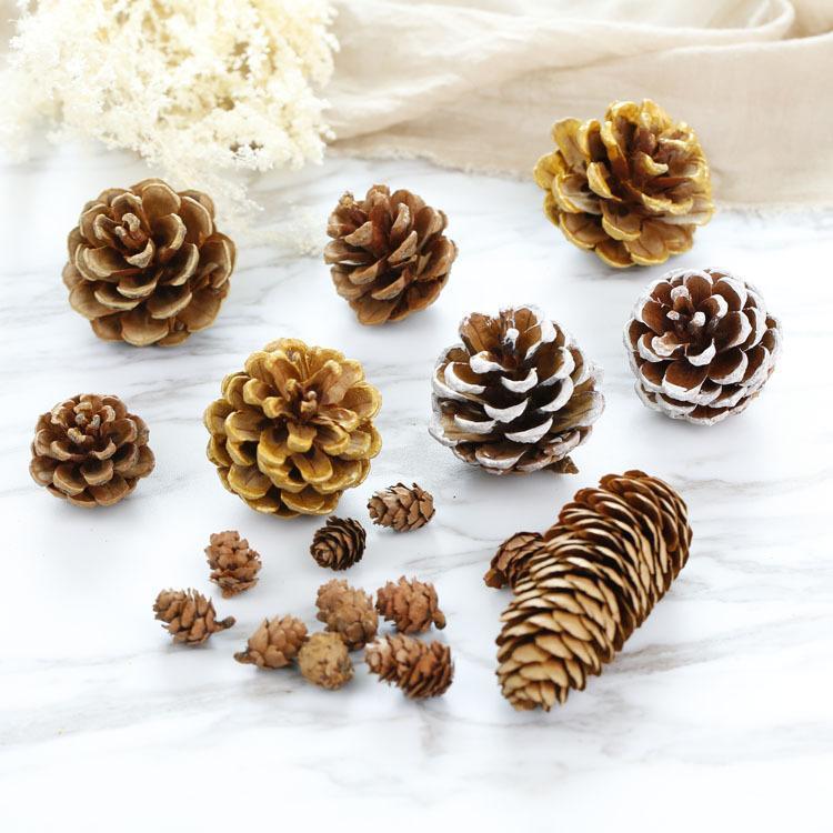 الزخرفية الزهور أكاليل 10 قطع الصنوبر الطبيعي المخاريق بو الدعائم عيد الميلاد الديكور شجرة القبعات العالية pinecone السنة diy حزب زهرية يعرض ديكور