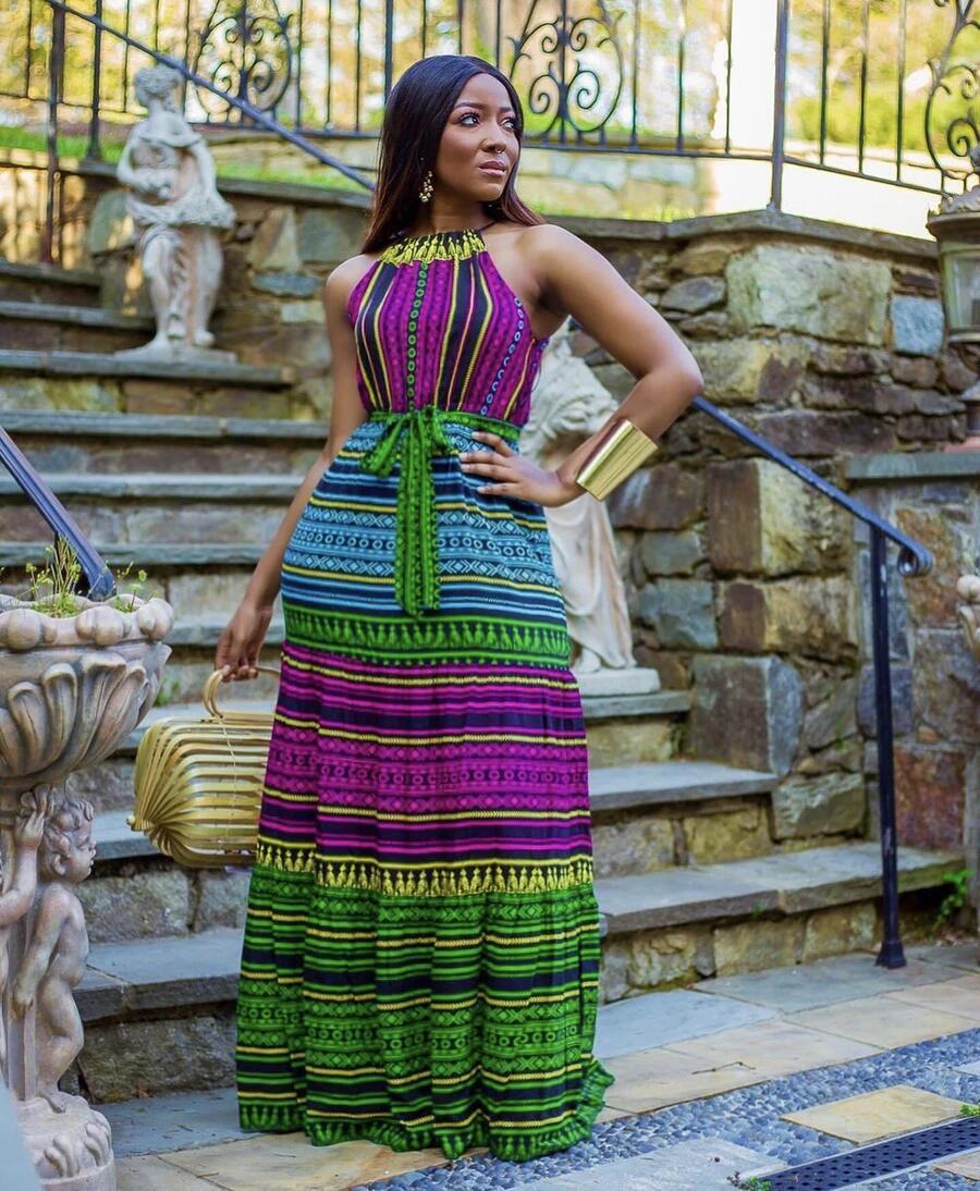 Vestito da celebrità etnico della stampa digitale della stampa delle donne 3D H9725 #