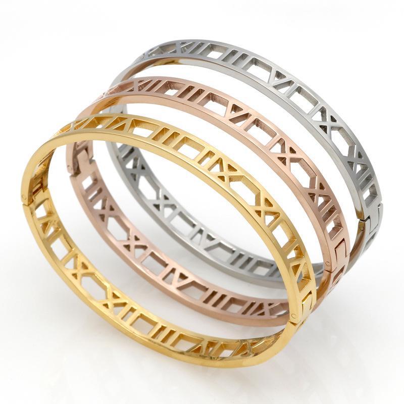 Moda prata de aço inoxidável manilha romana pulseira jóias rosa pulgula de ouro pulseiras para mulheres pulseira de amor