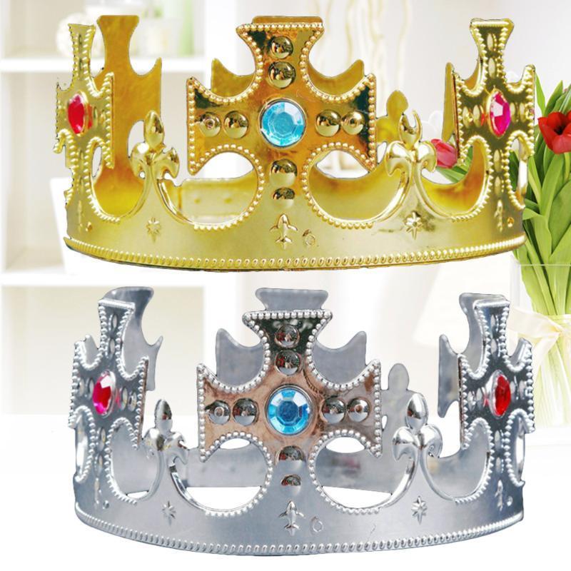 2 unids cumpleaños tiara príncipe corona sombreros niños fiesta favores suministros decoración (cruz)