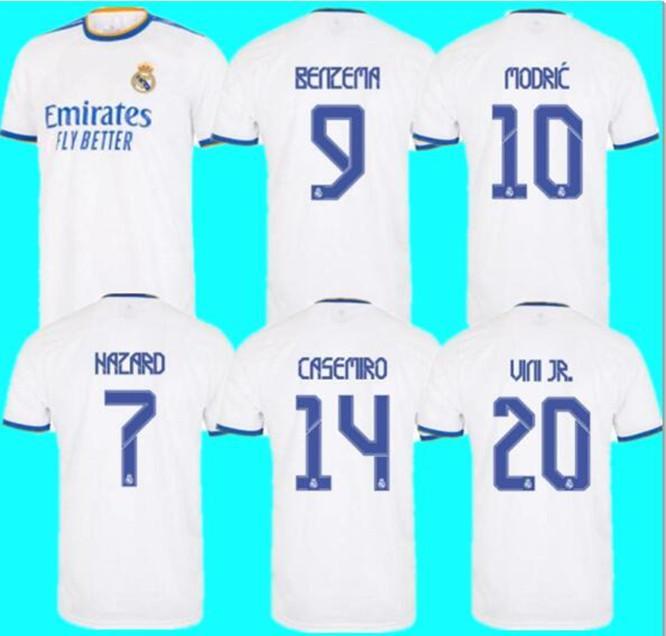 21 22 Real Madrid Maillot de foot 2021 2022 BENZEMA MODRIC Fans Player Version DANGER ASENSIO CASEMIRO VINICIUS JR. Homme Maillot Enfants
