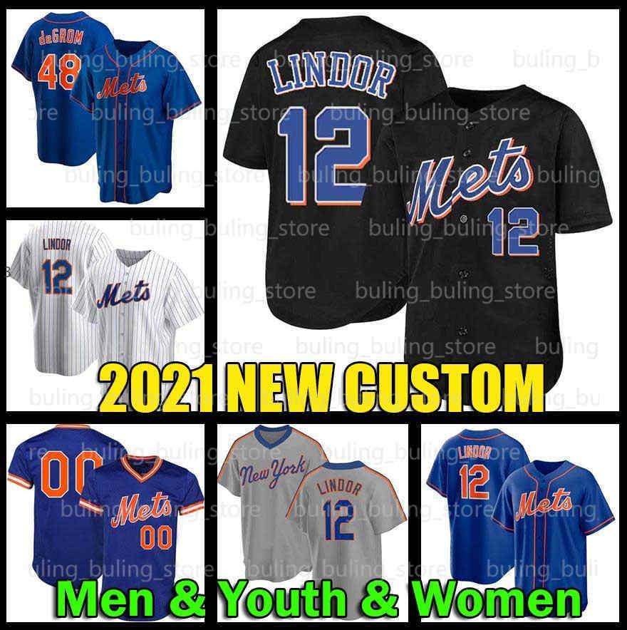 Erkekler Gençlik Kadınlar Çocuklar Özel Mets 12 Francisco Lindor Jerseys Jacob Degrom Yeni 34 Noah Syndergaard York Keith Hernandez Jeff McNeil