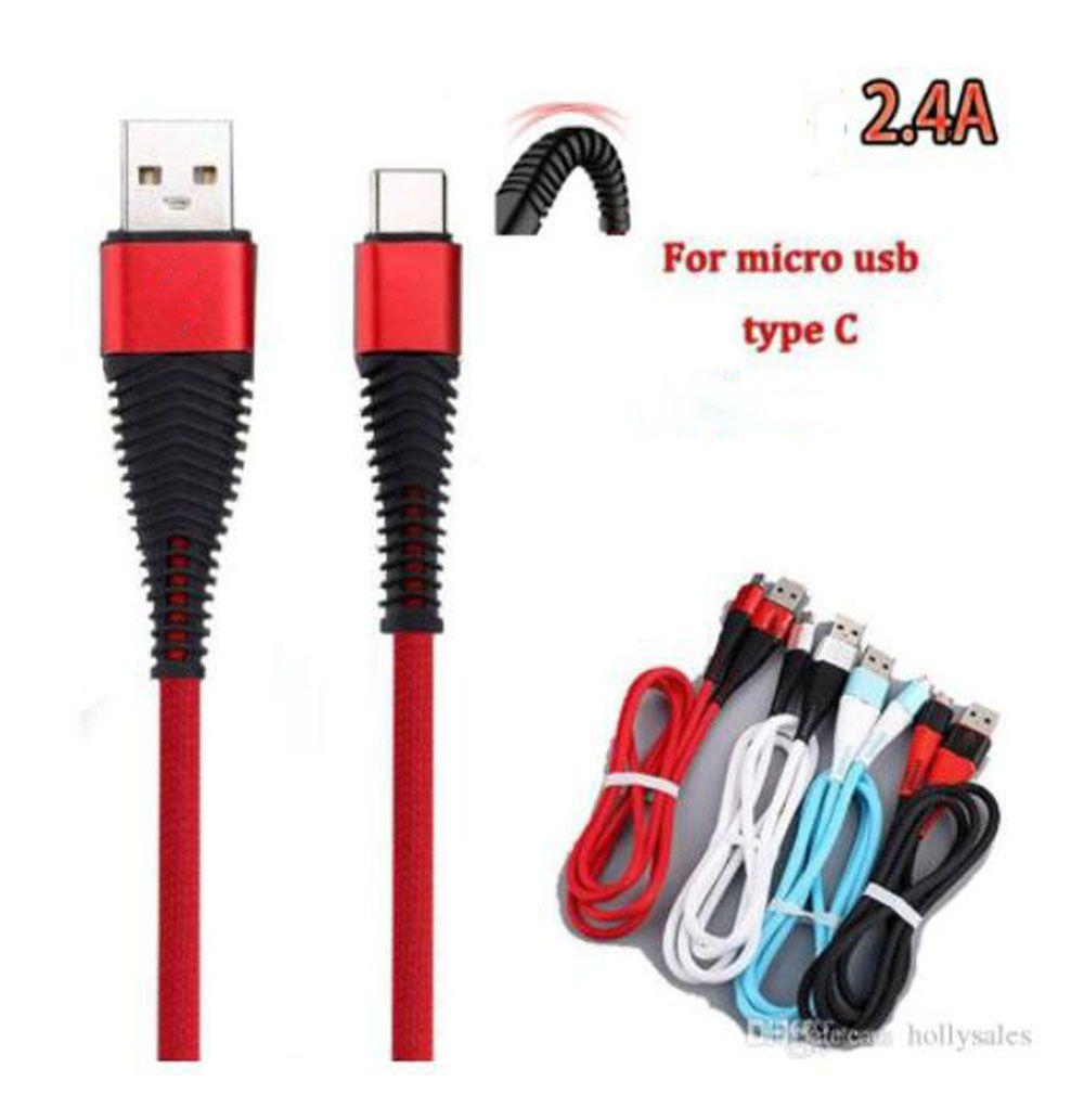 높은 저항 USB 케이블 1M 3FT 2A 충전 동기화 데이터 충전 코드 USB 유형 C 케이블 S10 노트 10 플러스