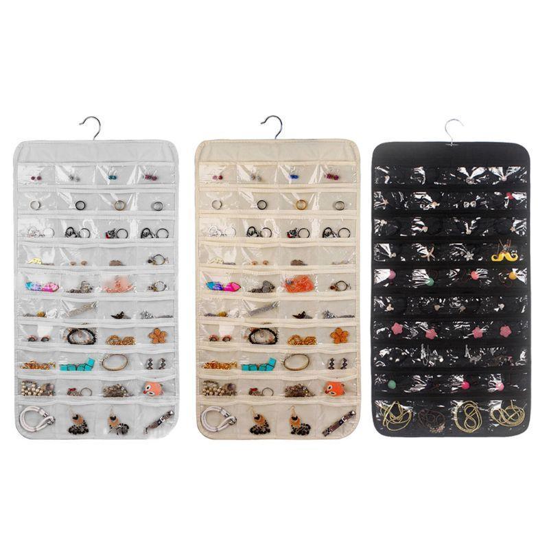 Schmuckbeutel, Taschen doppelseitig Hängende Anzeigen Organizer Aufbewahrungstasche Vlies Faltbare Ring Halskette Armband 80 Taschen