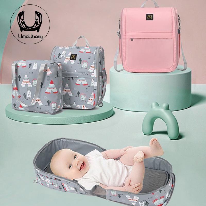 Designer Atmungsaktive schlafende Babybett Krippe für Moses Multifunktionsreise Reise Nest Borns Tragbare Windel Tasche Mom Taschen
