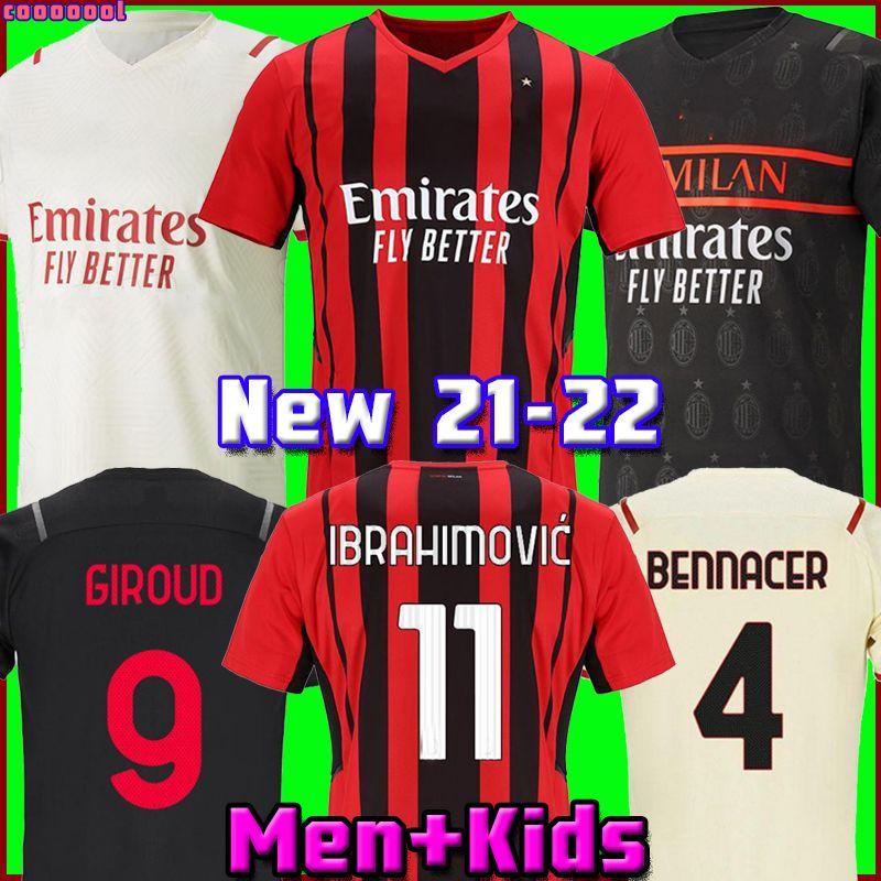 AC Milan 21 22 22 Jersey de futebol Ibrahimovic Giroud Bennacer Kessie Romagnoli Calhanoglu 2021 2022 Camisa de Futebol Tonali Rebic Maillot Men + Kid Kit Terceiro
