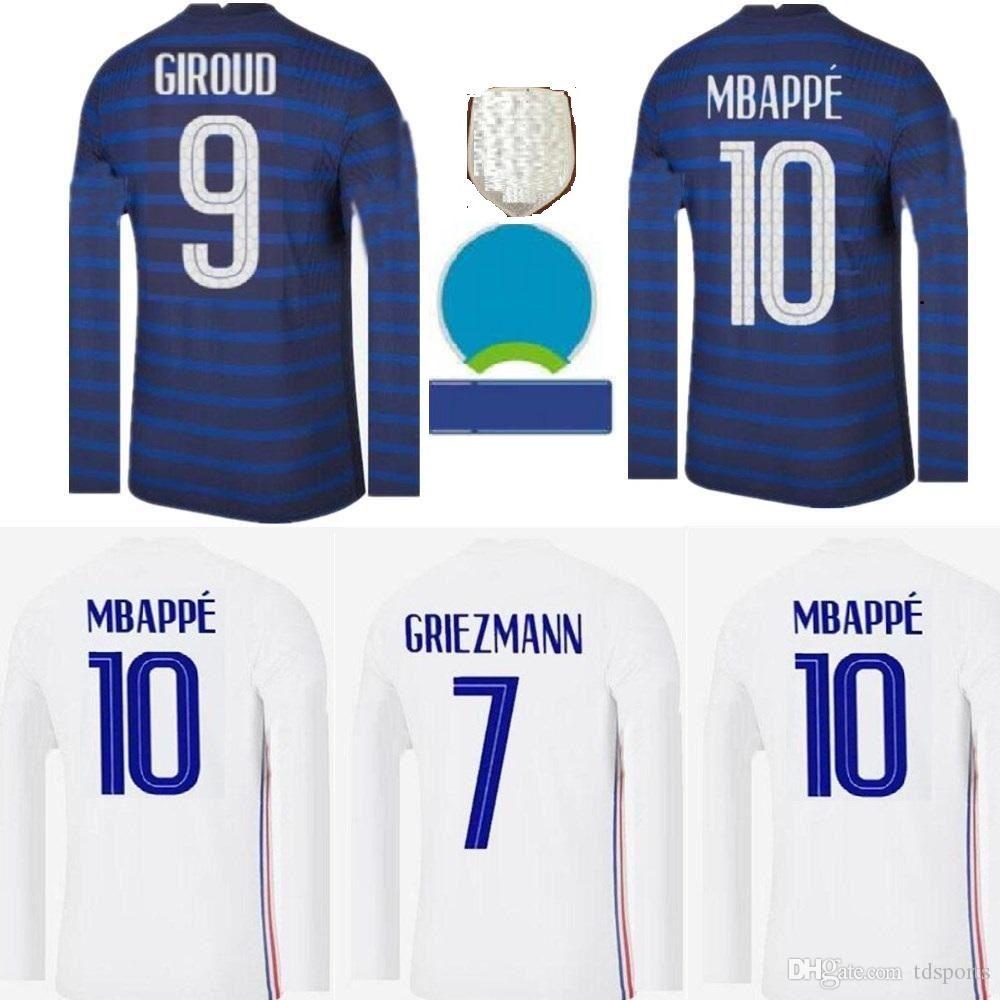 Homens Manga Longa França 2021 Jersey de Futebol Maillots de Futebol 20 21 Benzema Mbappe Grisezmann Kante Pogba