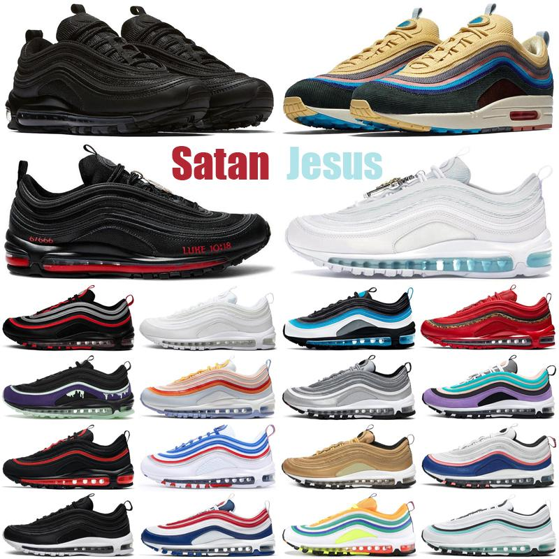 97 sean wotherspoon satan 97s zapatos para hombre Triple Blanco Negro MSCHF x INRI Jesus al aire libre hombres mujeres entrenadores zapatillas deportivas