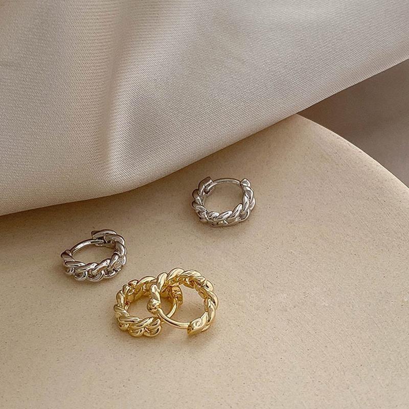 Orecchini a cerchio rotondo a catena piercing piccolo strass per le donne carino cerchio anello orecchio femmina gioielli moda brincos huggie
