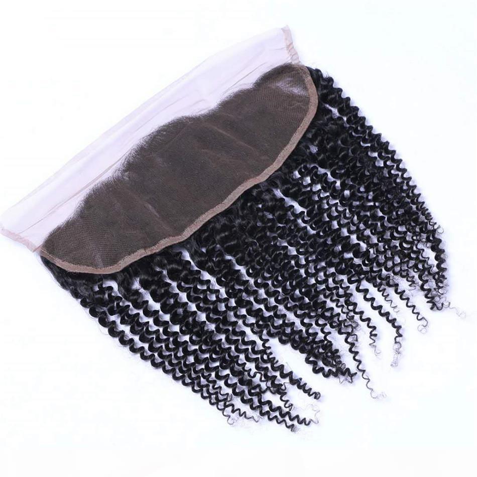 13x4 кружева лобное закрытие афро почтево вьющиеся вьющиеся перуанские девственные волосы для уха человеческие фронтальные фронтальные фронтальные