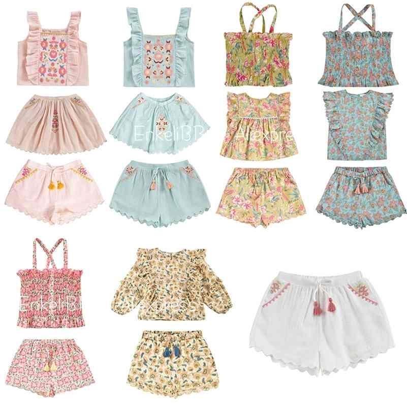PREOPORTE LM NIÑOS GIRL ROPA DE VERANO 21 SS NUEVO LLEGADAS Hawaii Kids Girl Ropa Sets T Shirt Shorts Outfit para niñas 210326