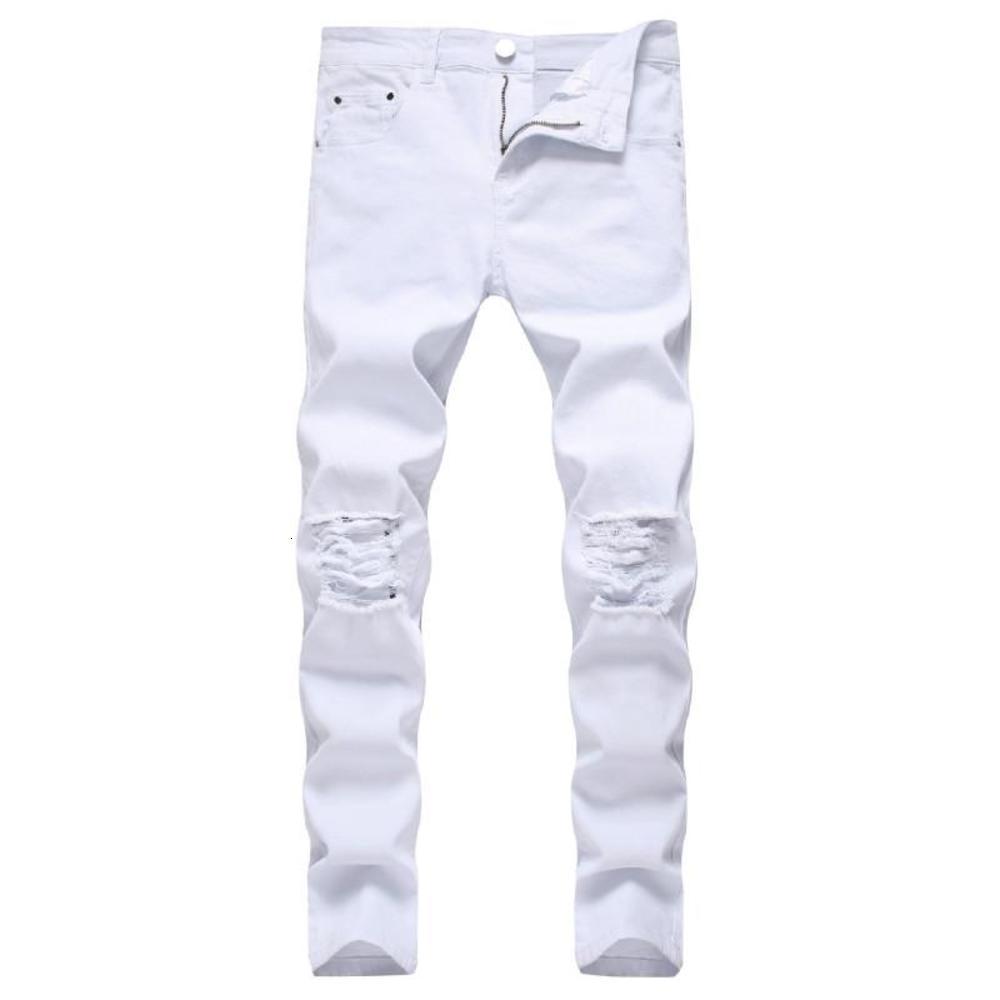 Solid White Ripped Jeans Men 2021 Classic Retro Mens Skinny Jeans Brand Elastic Denim Pants Trousers Casual Slim Fit Pencil Pant