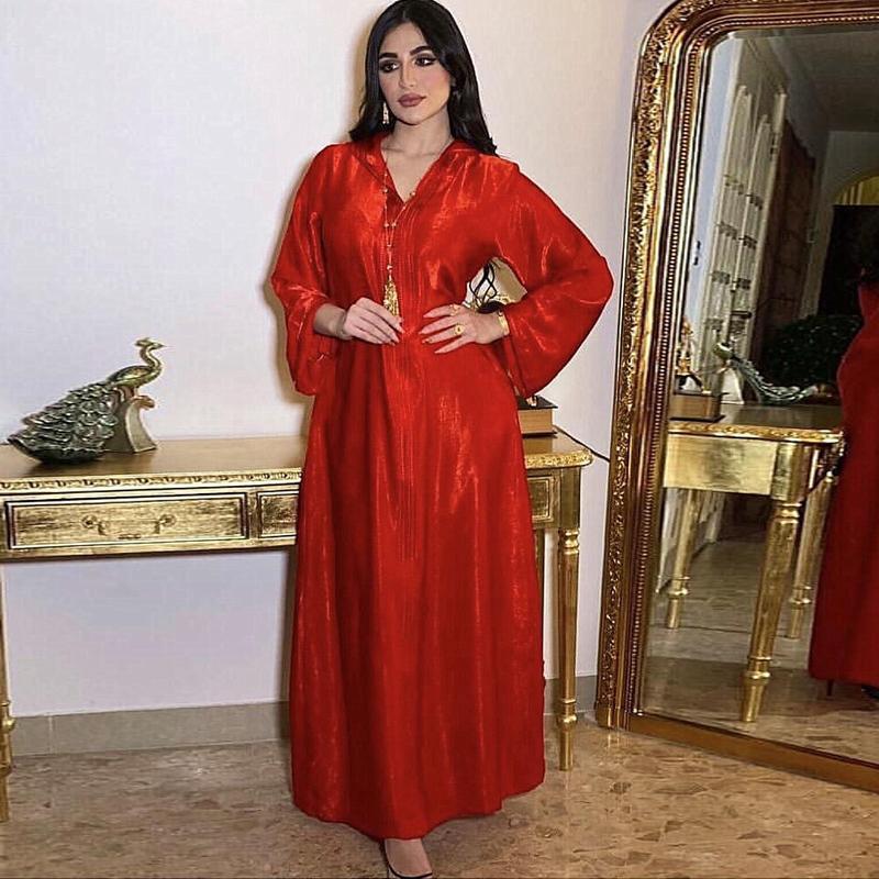 Femmes Muslim Jellaba à capuche à capuche Maxi Robe Abaya Jalabiya Lâche longue manches longues Trass Dubai Maroc Fête Arabe Fête Arabe Plus Taille Vêtements ethniques