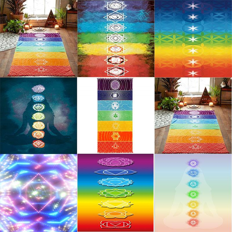 Multifunctional Carpets muffler Square Beach Towel Colorful Series Shawl Wrapped Skirt Bath Scarf Color grid pattern Polyester Carpet