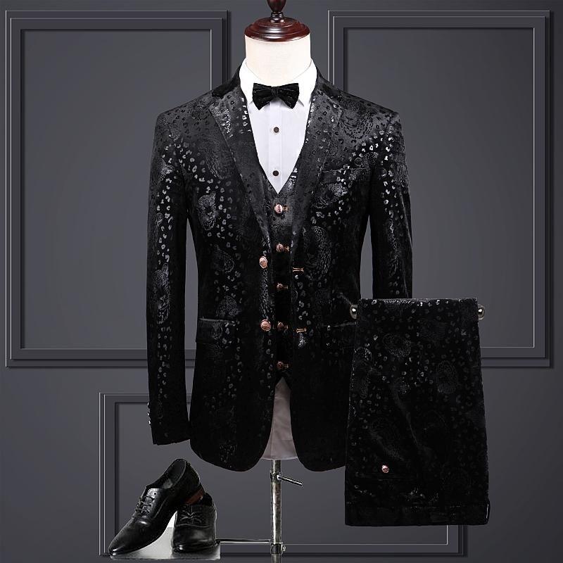 Men's Suits & Blazers ( Jacket + Vest Pants ) Groom Wedding Dress Leopard Black Stage Performance Mens Suit 3 Pcs Set Velveteen Male Busines