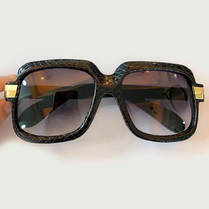 Klasik Lüks Güneş Gözlüğü Büyük Sqaure Çerçeve Moda Marka Yılan Doku Desen Güneş Gözlükleri Erkekler Kadınlar Için