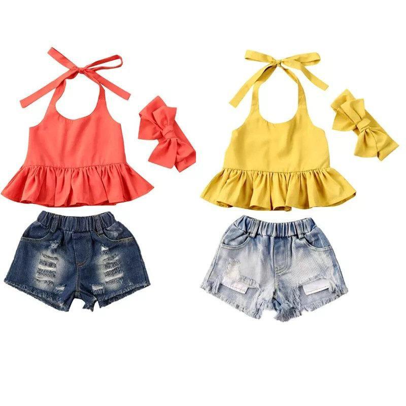 Varejo / Atacado Meninas Halter Top + Hole Calças de Jeans + Headdress 3 pcs Set Tracksuit Vestidos Conjuntos de Meninas Roupas Crianças Designers Roupas