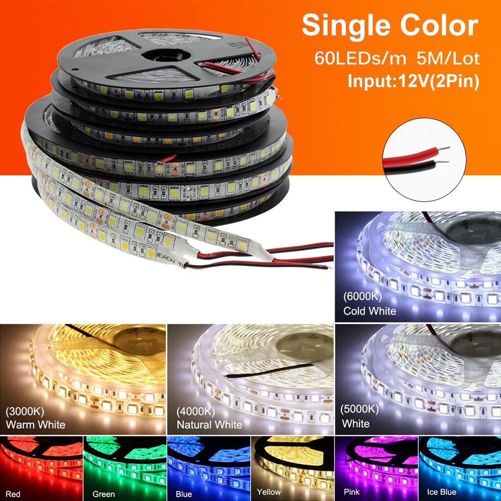 LED 스트립 5050 DC12V 60LEDS / M 유연한 LED 라이트 RGB RGBW 5050 LED 스트립 300LED 5m / lot