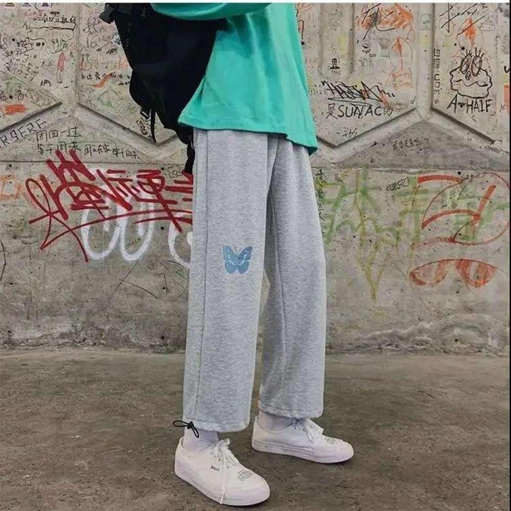 Сферальные штаны Женская осень и зимняя корейская утолщенная вышивка прямые широкие брюки ног мода дикие свободные ноги гарем брюки