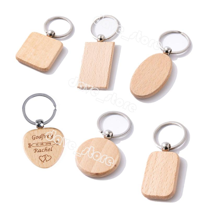 Buchenholz Keychain Anhänger Bank Carving DIY Schlüsselanhänger Gepäckdekoration Schlüssel Ring Schnalle Kreatives Geburtstagsgeschenk