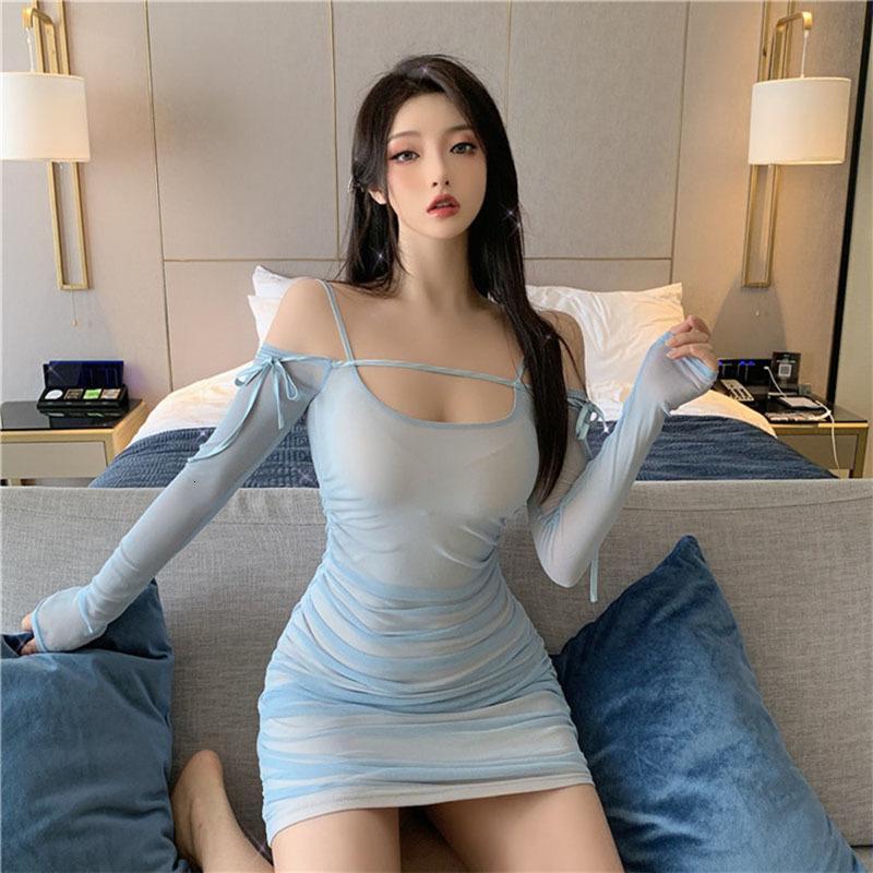 Nuove donne retrò Donne a maniche lunghe Abito a maniche lunghe Sexy Collar Slim Borsa Borsa Abito Hip Blue Nero