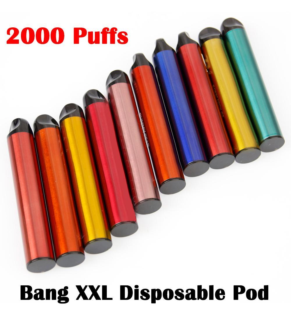 Bang XXL Cigarros Eletrônicos Cigarros Dispositivos de Vagem Devista 800mAh Bateria 2000 Puffs Prefalcados 6ml Cartucho