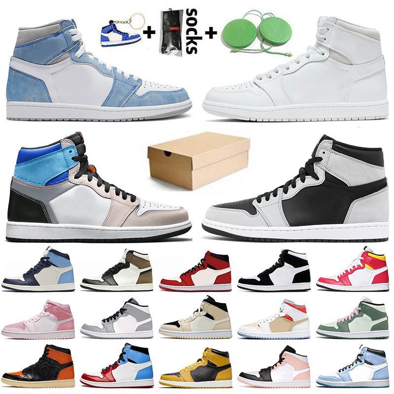 Nike Air Jordan 1 Off White Jordan 1 jumpman Venda quente Chicago New Love Amarelo Tribunal Roxo Das Mulheres Dos Homens Tênis de Basquete Mid Gym Red Obsidian destemido tênis