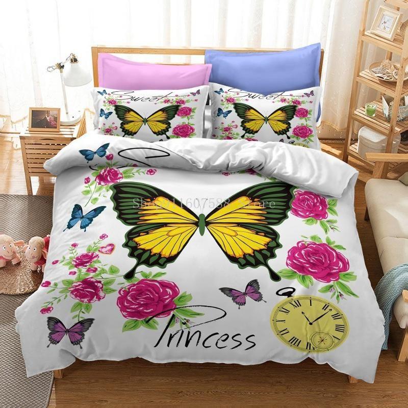 Bettwäsche Sets Mode Schmetterling Druck Set Aniaml Bettbezug 2/3 stücke Bettwäsche Luxusdekor Home Textilien