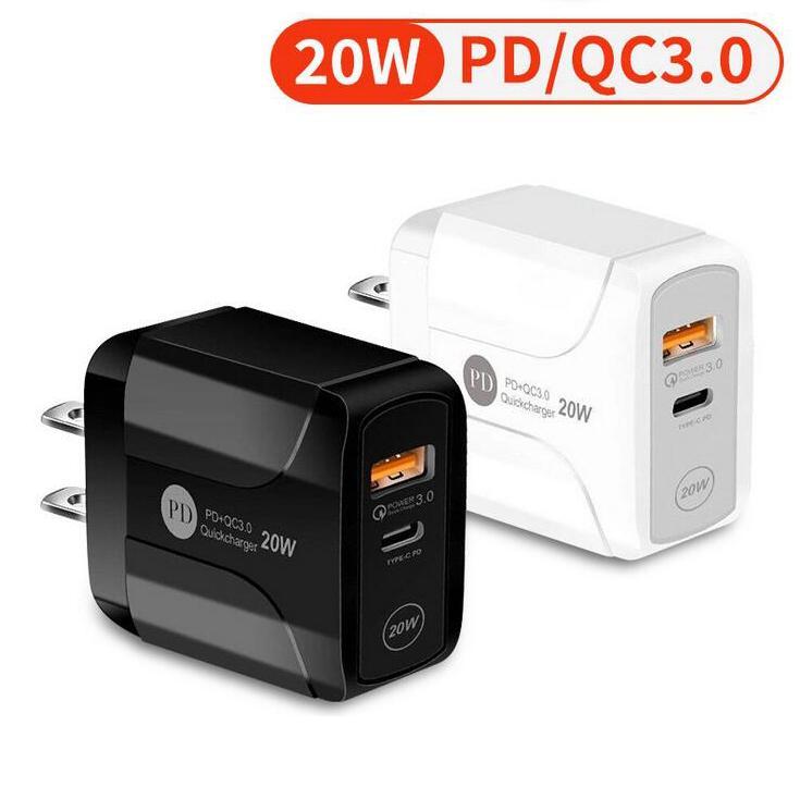 Typ-C 20W PD und QC 3.0 Dual Ports USB-Fast-Wand-Ladegerät mit US-EU UK-Plug für Xiaomi Huawei Samsung Mobiltelefon Mobiltelefon