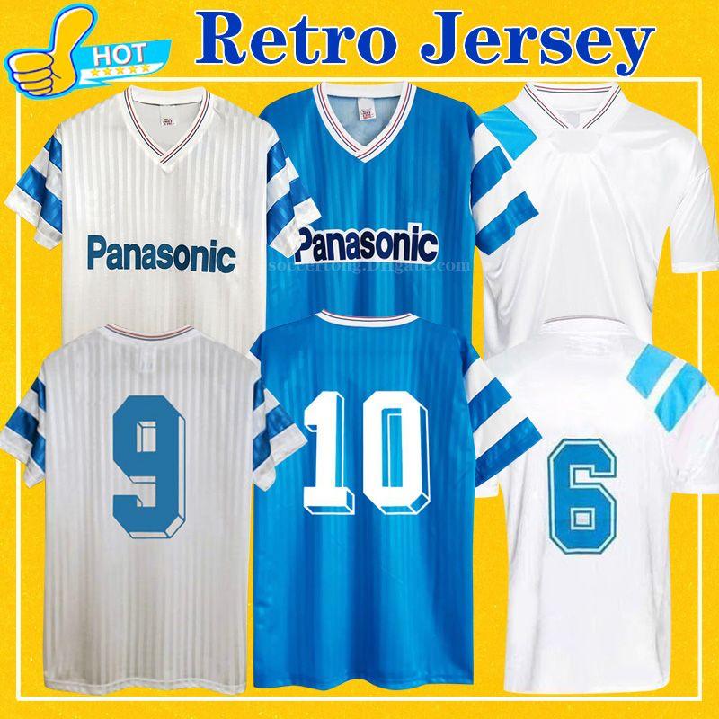 الرجعية مايلوت أم 1990 1991 1993 كرة القدم الفانيلة Papin Boli Cantona Waddle Pele Vintage 90 91 93 قميص كرة القدم الكلاسيكي