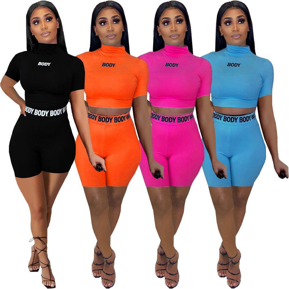 Летние женские шорты 2 шт. Набор дизайнерский дизайнерский трексуит письмо печатает жесткий фиксирующий футболку шорты костюмы дамы повседневная спортивная одежда 969