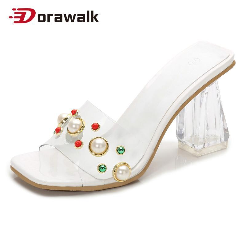 Femmes Pvc Jelly Pantoufles Open Toe High Talons Lady Transparent Perspex Chaussures Sandales claires Perle Venetien Taille 12