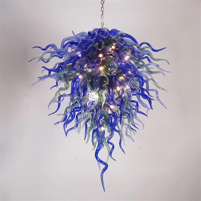 Moderno lampadario a sospensione lampade da pranzo lampade di illuminazione a mano in vetro soffiato lampadari di vetro arte design di lusso villa decorativa lampada a sospensione multi colorata