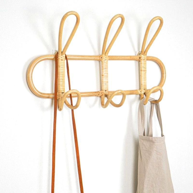 Натуральные ротанга настенные крюки настенные одежды Организатор одежды шляпа висит крючок многокналаздовая сумка для хранения Домашний декор Космические вешалки стойки