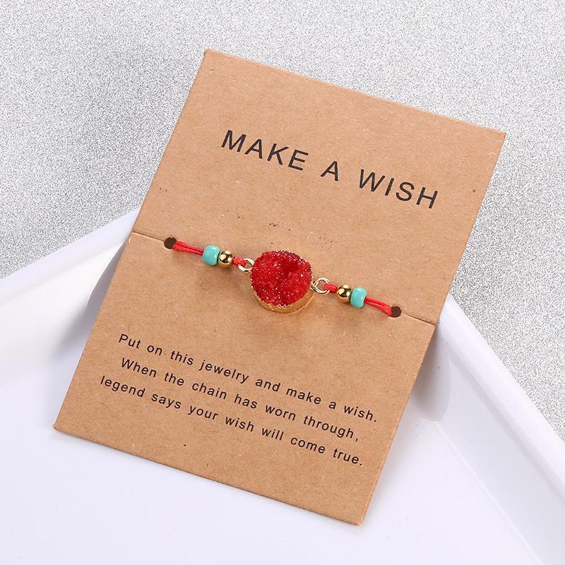 اليدوية druzy الراتنج حجر سوار جعل رغبة بطاقة الشمع حبل مضفر أساور أساور مع حبة الأرز للنساء الفتيات الصيف الشاطئ 186 Q2
