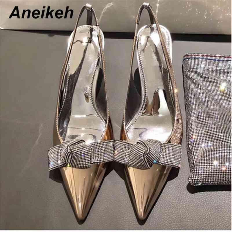 Mode d'été Pompes Femmes Sexy Crystal Crystal Butterfly-Knot Chaussures Stiletto Fête Dames Partie pointue Fin Sondus 41 42 210507