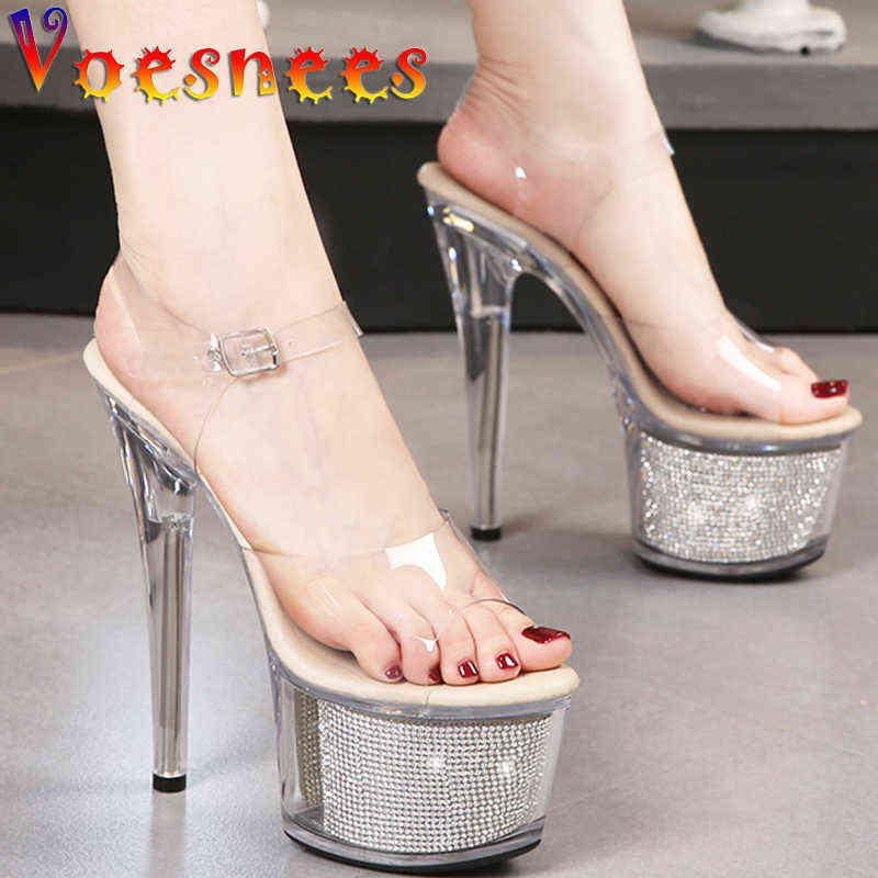 Transparent Crystal Women Shoes Summer Chain Thin High Heels Platform Steel Pipe Dance Open Toe Sexy Party Female Sandals 210712