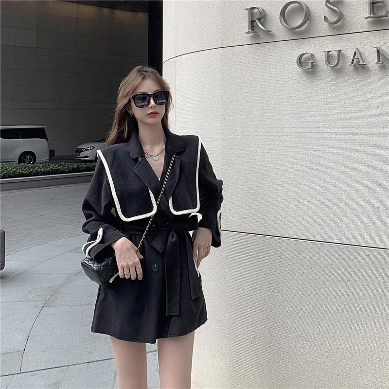 봄 스타일 느슨한 대형 캐주얼 패션 무료 벨트 중추 길이 모직 코트 자켓 여성 의류 양모 블렌드