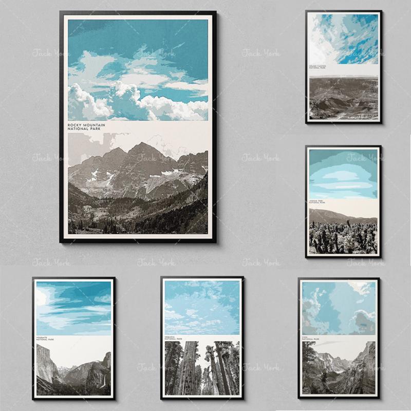 Pinturas Rocky Mountain Poster - National Park iconic Landscapes Art Decor
