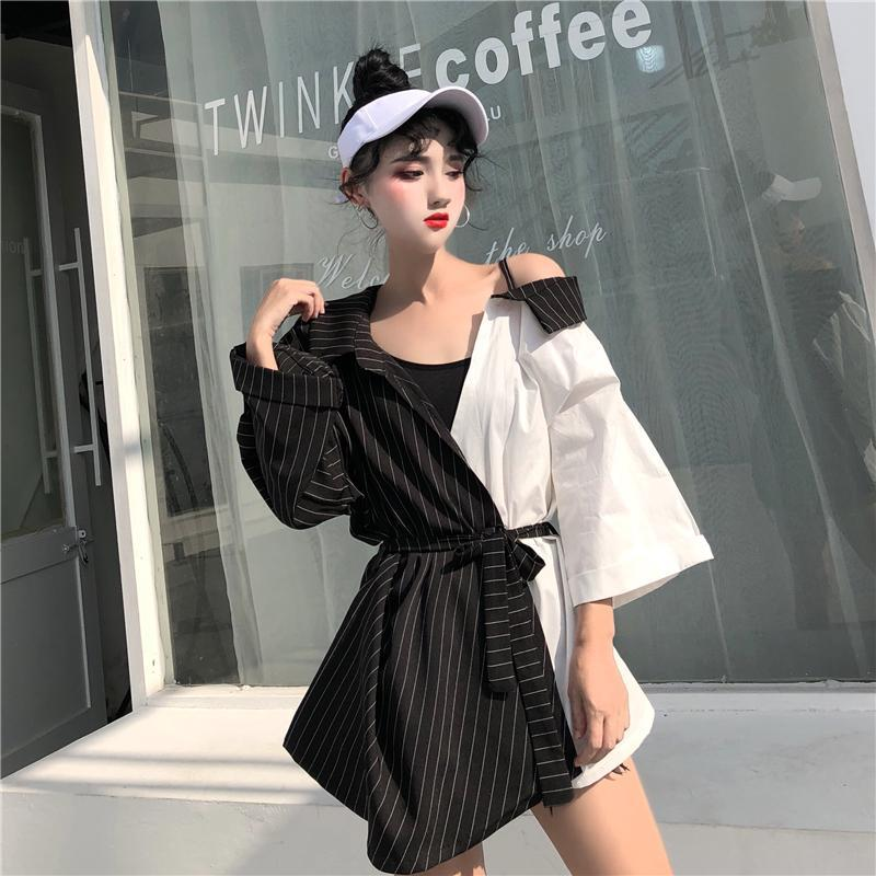 Arrival Mujer Striped Patchwork V-Neck Women Blouse Tops Loose Casual Female Shirts Summer Fashion Korean Sexy Blusas Women's Blouses &