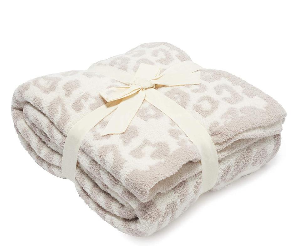 Leopardo stampa stiramento in pile coperta all'uncinetto morbido scialle portatile caldo da sogno divano viaggio portasicello a maglia da viaggio porta asciugamano 130 * 180 cm