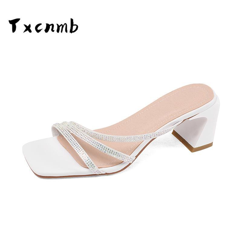 Genuine Leather Sandals Women Shoes High Heel Fashion Casual Square Shallow Brand Slip On Loafers