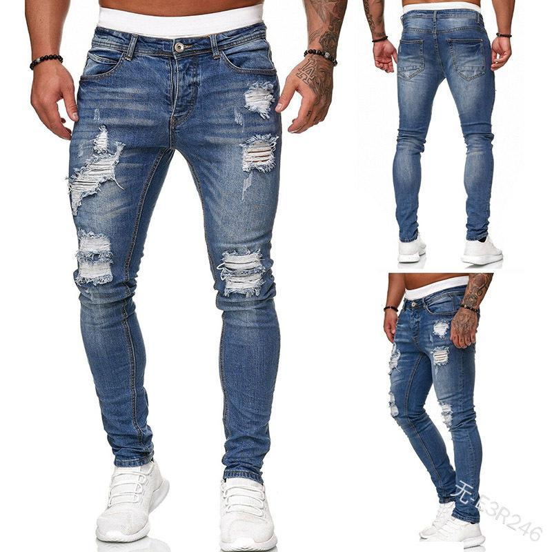 Erkekler kot delik ince kot pantolon moda eski pantolon bahar / sonbahar kalem rahat mavi erkek