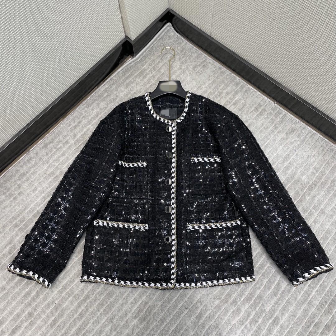 Milan Pist Ceketler 2021 Sonbahar Uzun Kollu O Boyun Panelli kadın Tasarımcı Marka Aynı Stil Coats 0624-13